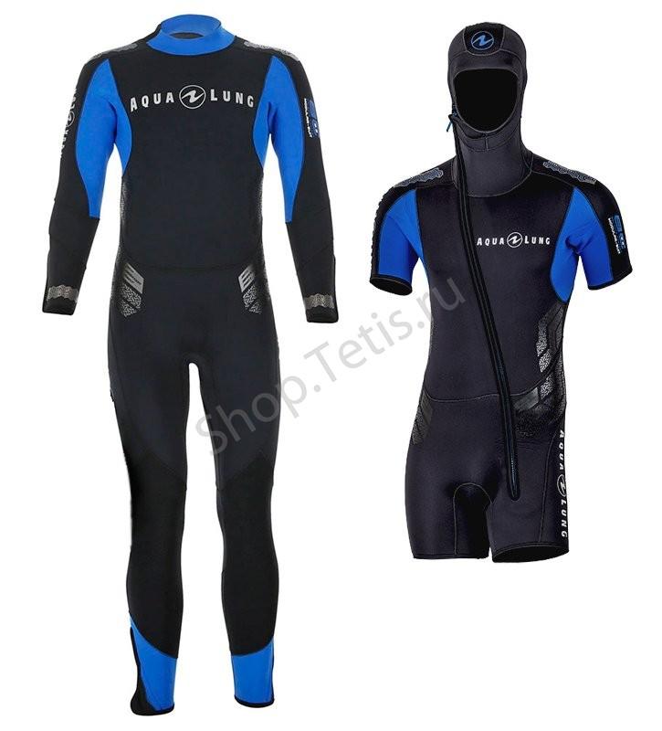 Гидрокостюм для дайвинга БАЛАНС КОМФОРТ 2016, комплект 7 мм, моно = куртка-утеплитель со встроенным шлемом. AquaLung